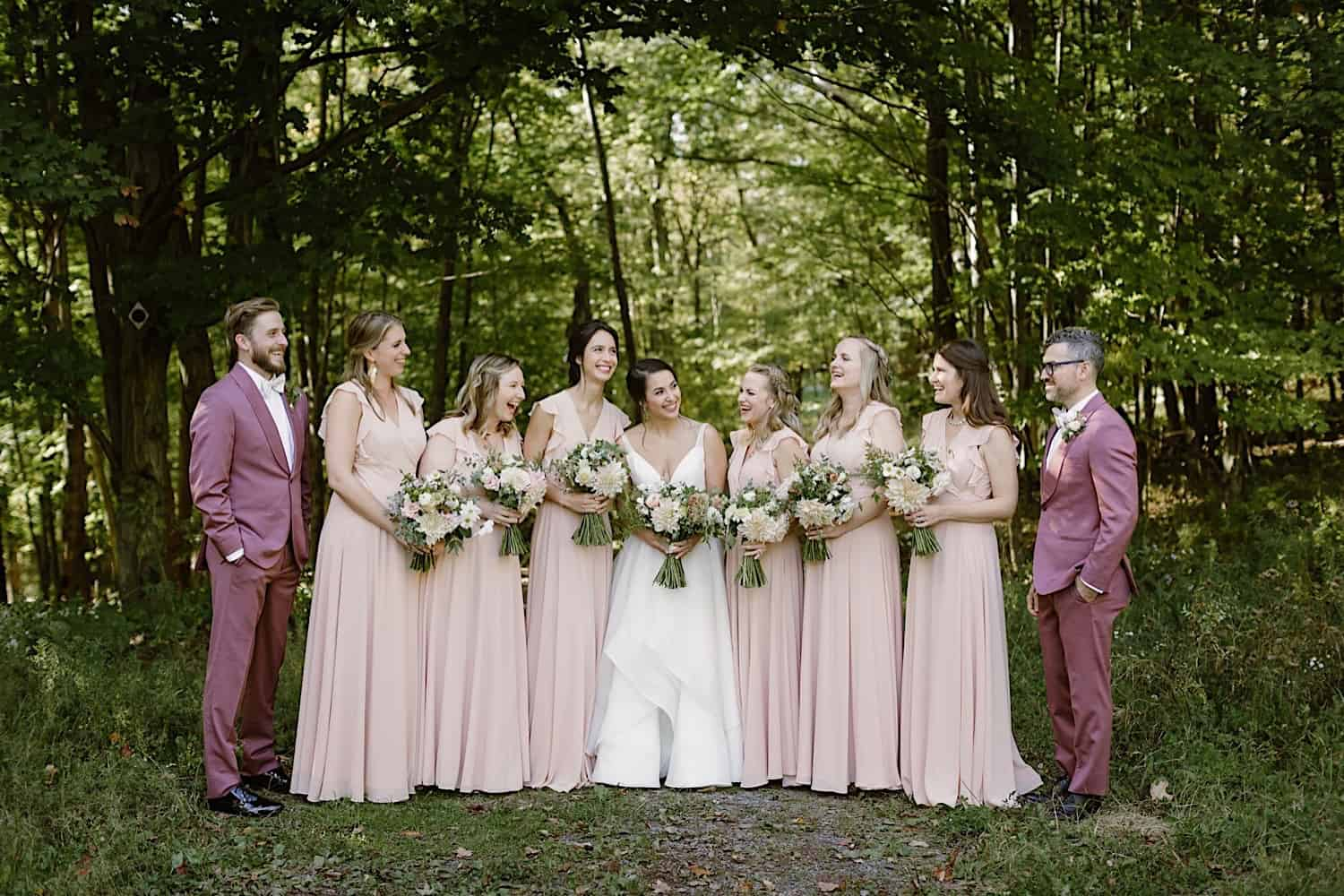 rose colored bridesmaids gowns