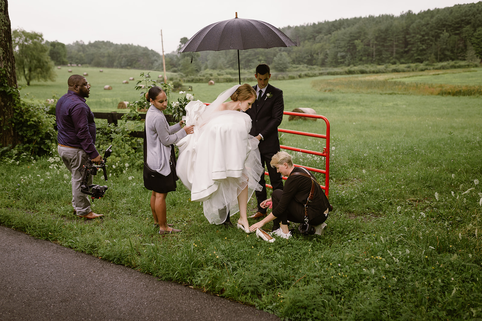 wearing rain boots on your wedding day